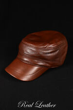 Unisex CASTRO CAP BROWN Real Lambskin Leather Military Army Ranger Combat Hat