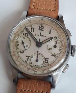 Vintage Eterna Military Style Steel Chronograph WWII era 1940's Valjoux 71 RARE