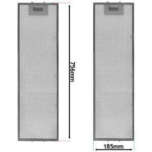 Grease Filter for AEG Cooker Hood 756mm x 185mm DPB0900W DPB2920M DPB0901W x 2