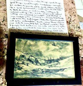 """""""WHITE MOUNTAINS """" GEORGE LORENZO NOYES 1863-1945 Ink Wash LANDSCAPE"""