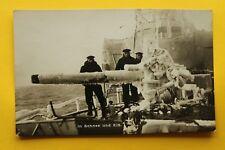 Marine Foto AK Matrosen Schnee u Eis Schiffsgeschütz vereist Technik 1914-18 1WK