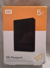 """New"" WD - My Passport 5TB External USB 3.0 Portable Hard Drive - Black"