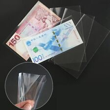 100Pcs Paper Money Stamps Sleeves Clear Banknote Collection Protect Storage BagH