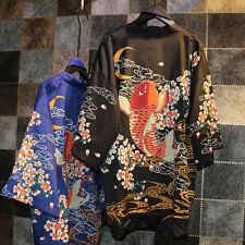 Cool Japanese Harajuku Women Cardigan Sakura Carp Print Kimono Bathrobe Coats