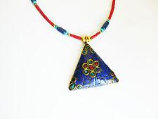 Collier  pendentif tibétain lapis turquoise corail