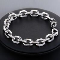 """10mm Oval Cable Link Bracelet Mens Silver Tone Stainless Steel Chain Jewelry 11"""""""