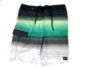 "$120 O'Neill Mens Green Quick Dry Lennox Striped 21"" Board Shorts Swimwear Sz 29"