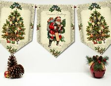 Traditional Vintage Victorian Style Christmas Bunting/Banner & Ribbon - 3m
