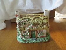 1994 Lefton Hand Painted Ceramic Cottage Music Box by Jane Chambless