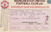 MANCHESTER UNITED v LEEDS UNITED ~ FA CUP 5TH RD 19 FEBRUARY 1995 MATCH TICKET