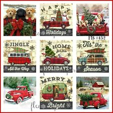 ~ Vintage Christmas Home for the Holidays Red Trucks 9 Prints on Fabric FB 452 ~