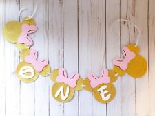 """Minnie Mouse Pink & Gold """"First"""" Birthday Party Banner Bunting Garland New"""