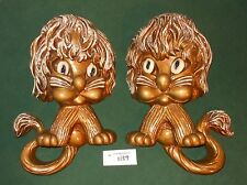 2 Vtg Hollywood Regency Homco Lion Wall Plaques Big Eyed Universal Corp 1970s