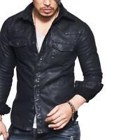 Men's Genuine Lambskin Leather Shirt Jacket Stylish Coat Slim Fit Casual Shirt