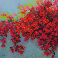 "Bougainvillea. Original oil on gallery wrapped  canvas 20""x20"" floral painting"