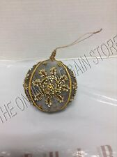 1 Pottery Barn Christmas Holiday Embroidered Glass Beads Sequins Gold Ornament