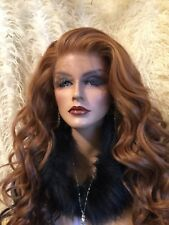 "HOT RED TO Black, Multi Style 32"" Human Hair Blend! Awesome Lace Front Wig!"
