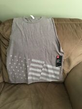 Under Armour Women's Large Gray Americana Flag Loose Fit Tank NWT