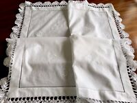 VINTAGE HAND EMBROIDERED CROCHET WHITE SCALLOP EDGED TABLECLOTH 40X39 INCHES