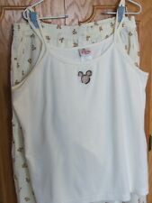 The Disney Store cream/tan embroidered Mickey animal print P.J. top set/L-Xl/Vg