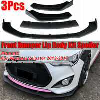 For Hyundai Veloster 2013-2017 3PCS Front Bumper Lip Body Kit Spoiler Splitter