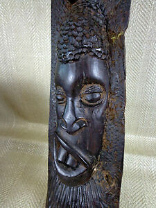 Vintage African Wooden Mask Carving Hardwood Tribal Sculpture Wall Hanging HEAVY