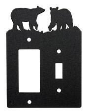 Bear Bears Single Switch Single Rocker Cover Plate Black