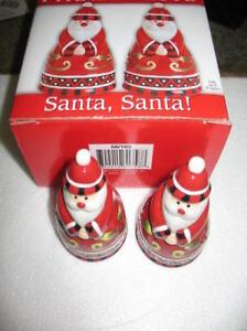 Fitz and Floyd Santa Santa Salt & Pepper Shakers NIB