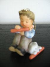 1997 Berta Hummel Boy Wht Dog Christmas Tree Ornament Porcelain Goebel Figurine