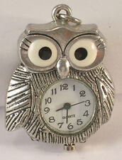 Silver Colored Metal Owl Pendant Watch Combination has New Battery