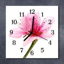 Glass Wall Clock Kitchen Clocks 30x30 cm silent Flower Pink