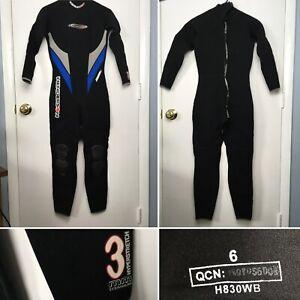 HENDERSON dive wear titanium hyperstretch 3mm size 6 black blue wet suit womens