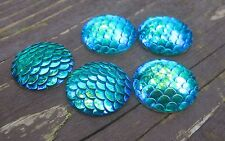 10 pcs. Aqua Blue Mermaid Fish Scales Dragon Cameo Domes Cabochons 25mm Circle