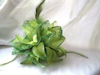 Hair Clips/ Fascinator - Flower for Wedding/Party with feathers and glittery