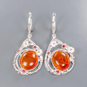Handmade Earrings Amber Earrings Silver 925 Sterling   /E57526