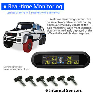 Solar TPMS Tire Pressure Monitor With 6 Internal Sensors For Car RV Pickup Truck