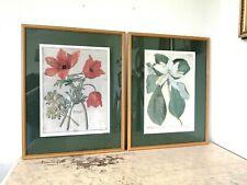 Pair Of Floral 1990's Vintage Botanical Prints in wooden frames