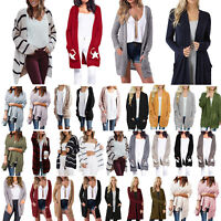 Winter Women Long Sleeve Knit Cardigan Sweater Outwear Jumper Jacket Coat Tops