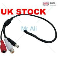 2 x Mic Voice Audio Microphone RCA Output Cable for CCTV Security Camera DVR