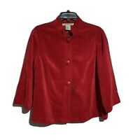 Requirements Womens L Large Corduroy Swing Coat Cherry Red Banded Collar