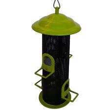 Mangeoire silo, coloris vert, tout métal, pour oiseaux, à suspendre