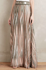 $295 ANTHROPOLOGIE CYNTHIA VINCENT TARRAGON PLEATED LINED MAXI SKIRT Sz M