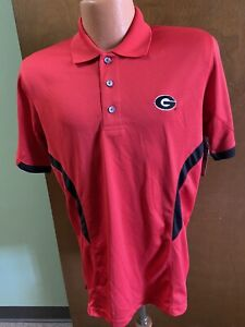 Georgia Bulldogs NCAA  Majestic Red 3 Button S/S Polo Shirt Men's 2XL