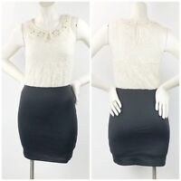 Candies Small Womens Ivory Black Lace Embellished Peter Coller Sleeveless Dress