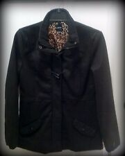 NWT Black Duffel Coat by Rampage, Misses Size Lg, Toggle Closure, Leopard Lining