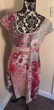White Stuff Pink And Grey Spot Linen Blend Cap Sleeve Dress Summer Size 12