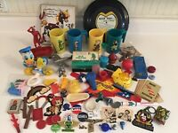 Vintage Junk Drawer Lot,Premium Toys,Charms,Miniatures,Cracker Jack, Parts,games
