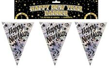 12ft Holographic New Year Flag Banner Bunting Party Decorations Black + Silver