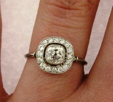 Art Deco Old Cushion Cut .83 Carat Diamond Platinum Ring