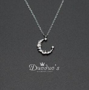 925 Sterling Silver Zircon Moon Pendant Necklace